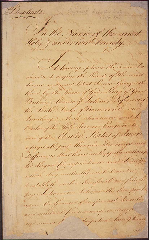 The Paris Peace Treaty of 1783